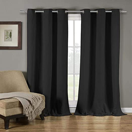 Duck River Textiles – Mildred Crushed Linen Textured Grommet Top Window Curtains for Living Room Bedroom – Assorted Colors – Set of 2 Panels 38 X 84 Inch – Black