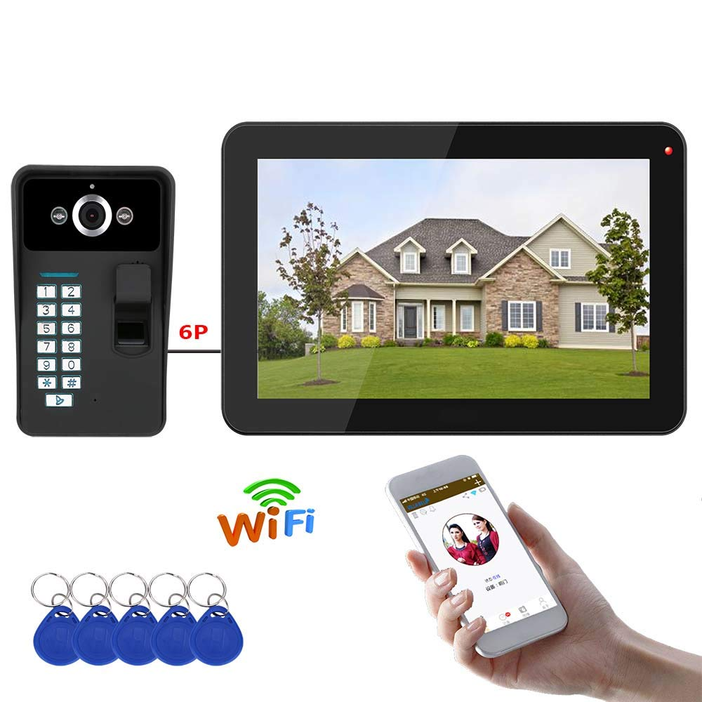 MCJL Video Doorphone 2-Wires Video Intercom System 9-inch color Monitor and HD Camera Video Doorbell with, Surface Mounted Outdoor Doorbell