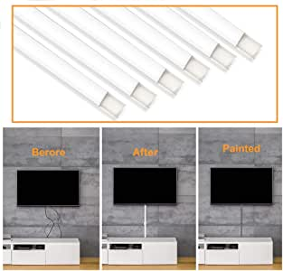 Cable Concealer On-Wall Cord Cover Raceway Kit - Cable Management System to Hide Cables, Cords, or Wires - Ideal for Any Room Cord Organizer (6pcs 15.6 * 1.5 * 0.76 inchAccessories NOT Included)