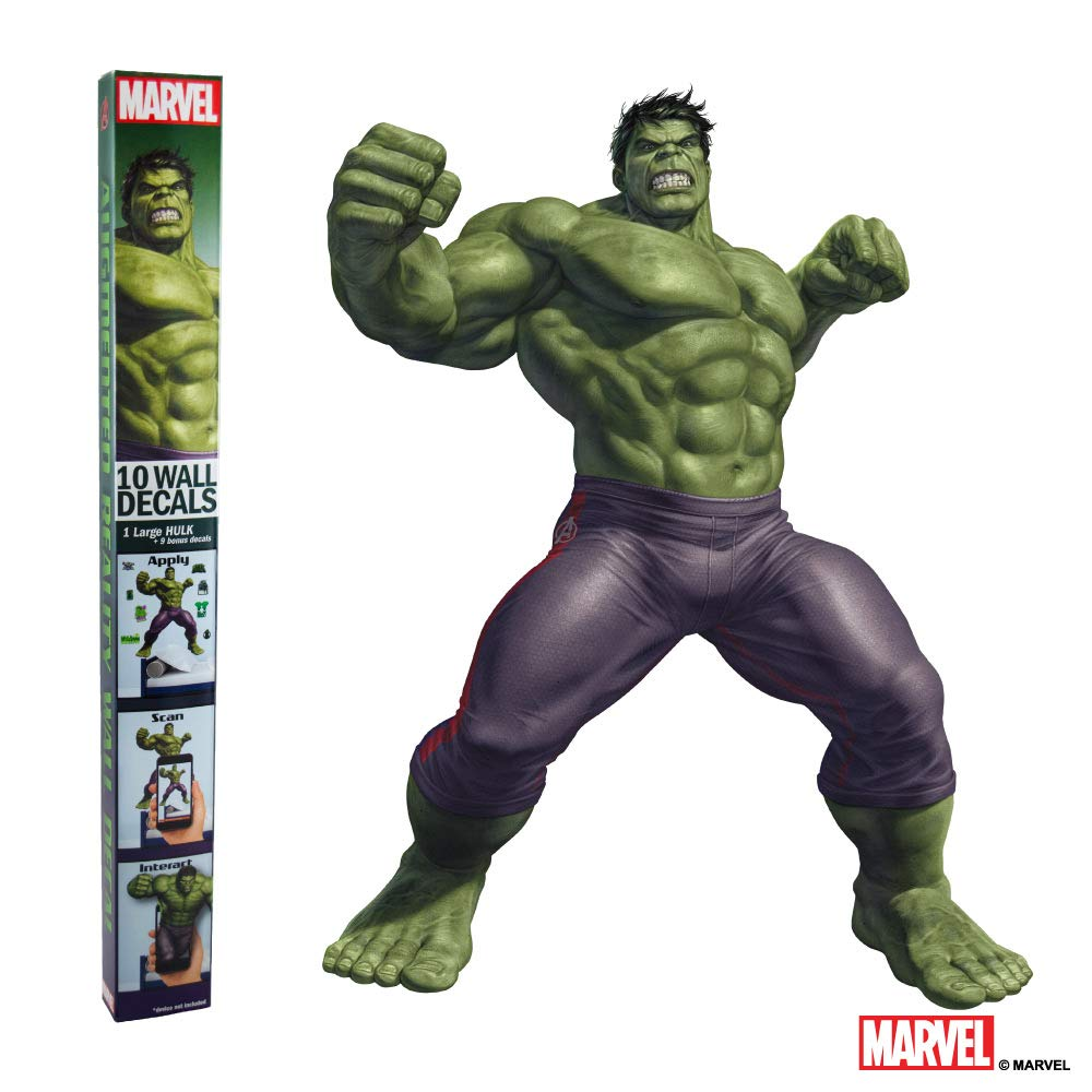 MARVEL HULK VINYL STICKERS - 10 Piece Augmented Reality Marvel Stickers for Kids Rooms - Kids Wall Decals For Bedroom Are Easy To Put Up On Wall & Peel Off - Best Bedroom Décor for Kids