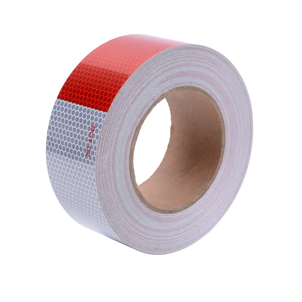 High Intensity DOT-C2 Reflective Tape Red and Silver Safety Conspicuity Tape(2''x75')