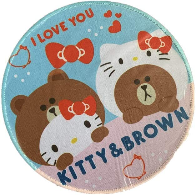 Kitty with Heart Hello Kitty Mouse Pad Round Bear Heart Wrist Rest for Girl Adult Kid Office Computer