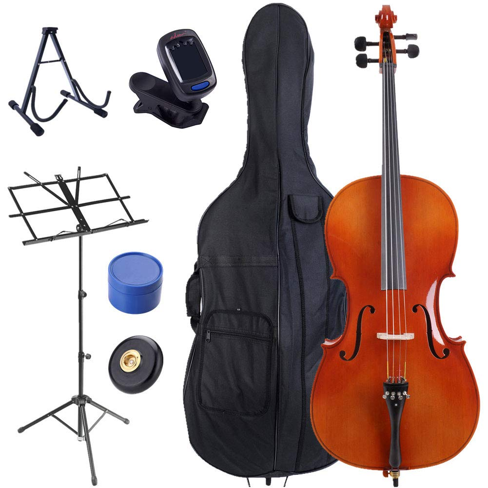 ADM Student Cello 4 4 Full Size with Soft Case, Stand, Music Sheet Stand, Rosin and End-pin, Gloss Red Brown