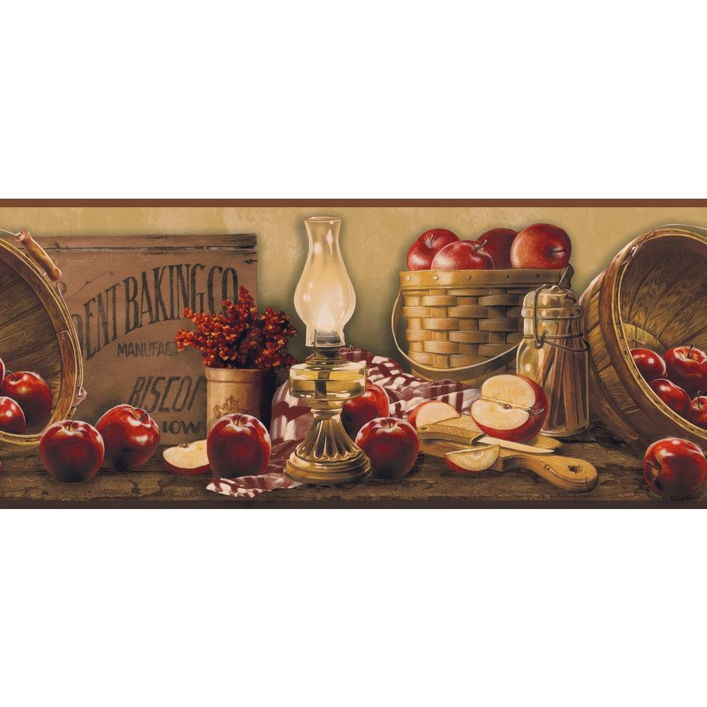 York Wallcoverings KE4914BD Border Book Apple Basket Border, Beige/Burgundy