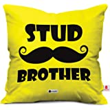 Indibni Stud Brother Quote Printed Yellow Cushion Cover 12X12 With Filler - Gift For Siblings Sis Birthday Anniversary