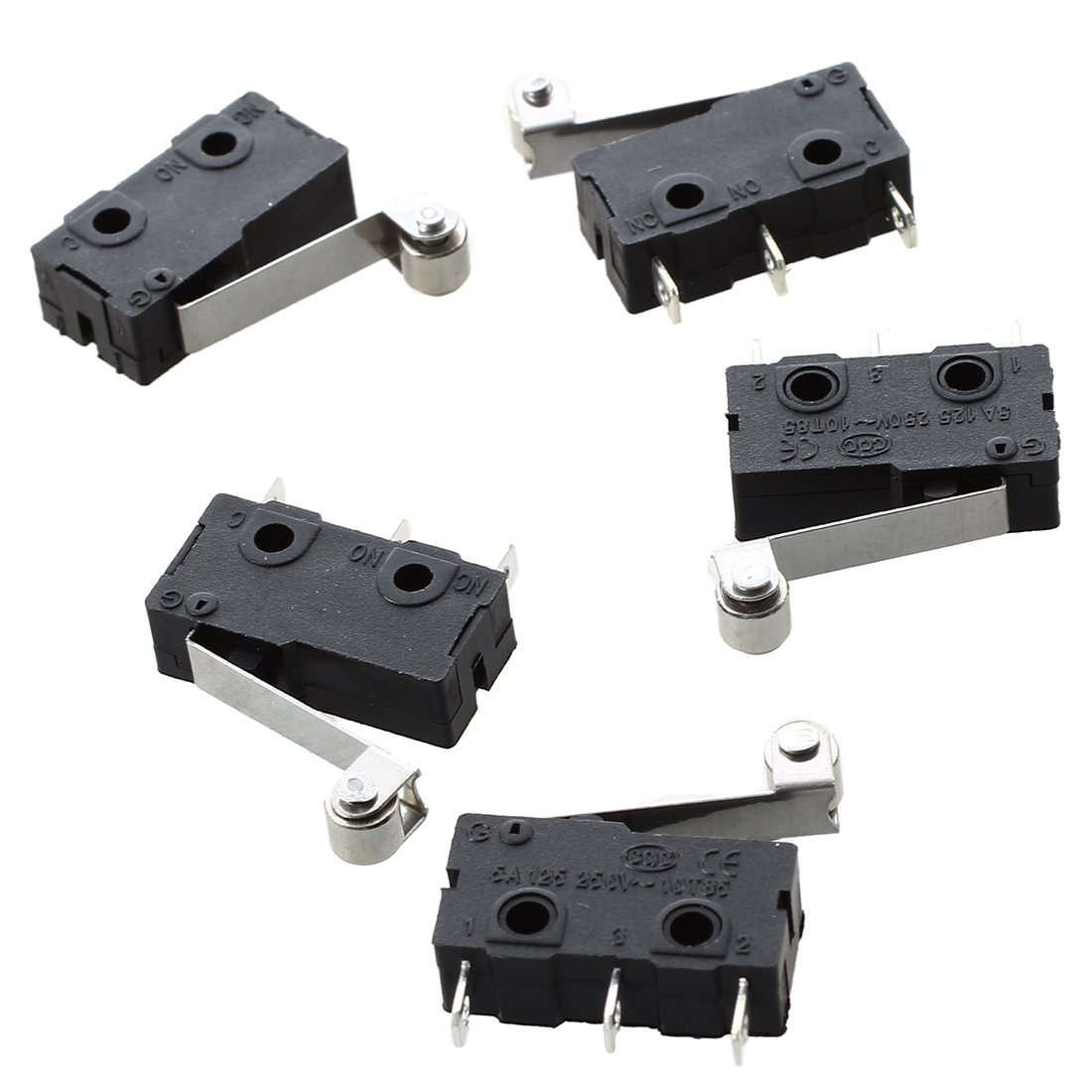 Micro Switch - SODIAL(R) 5 Pcs Micro Limit Switch Roller Arm Subminiature SPDT Snap Action Switch Black