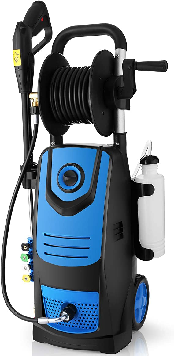 Suyncll 3800 PSI 2.8GPM Electric Pressure Washer Electric Power Washer with Soap Bottle and Hose Reel (Blue)