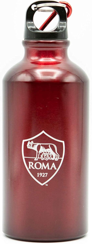 Giemme - Botella térmica AS Roma de aluminio, color rojo, con mosquetón y tapón de rosca, producto oficial, 17 cm de altura, 400 ml