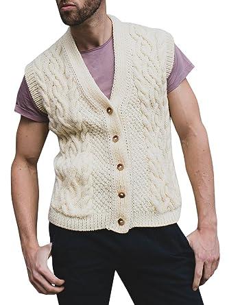 Runcati Mens V Neck Sweater Vest Cable Front Button Down Waistcoat