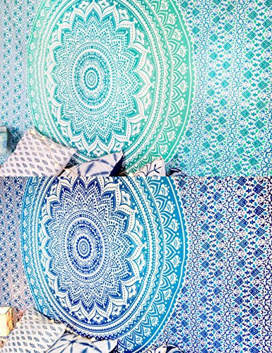 Set of 2 Boho Tapestry or Mandala Tapestry Wall Hanging Indian Hippie Tapestry Bohemian Blanket or Table Cover or Tablecloth Beach Towel Meditation Yoga Mat - Twin Size - 55x85, - Lotus Quilt Pattern