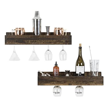 del Hutson Designs - Smuxe Stemware Wine Racks (Set of 2), USA Handmade, Pine Wood (5H x 24W x 6D, Dark Walnut)