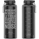 Artoid Mode 1500ml ウォーターボトル 直飲み 広口 目盛り 時間マーカー 携帯便利 スポーツ アウトドア フィットネス 大容量 プラスチック BPA フリー 水筒