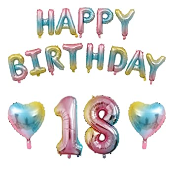 18th Birthday Decorations Gradient Balloons Happy Rainbow Banner Colorful Letters
