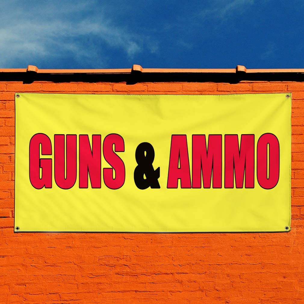 Multiple Sizes Available 28inx70in 4 Grommets Vinyl Banner Sign Guns /& Ammo Yellow red Business Outdoor Marketing Advertising Yellow Set of 2