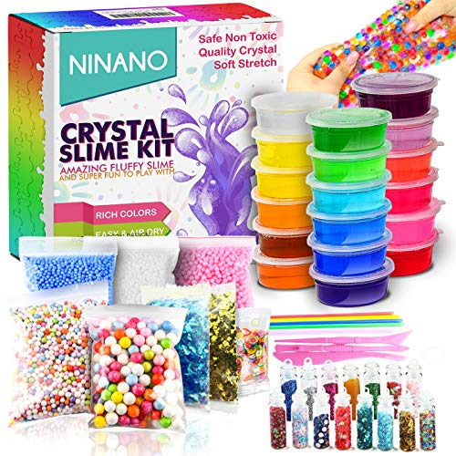 DIY Slime Kit for Girls Boys - Ultimate Glow in the Dark Glitter Slime Making Kit-18 Slime Containers, Foam Balls, Water Beads, Snow powder,White Clay,Tools for Kids Aged 6+]()