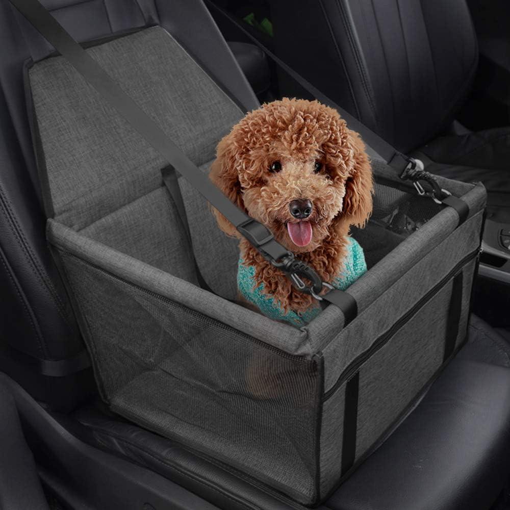 Asiento del Coche de Seguridad para Perro y Gato Cubierta de Asiento Impermeable de Automóvil para Mascota, Funda Protector de Coche Plegable para Mascota con Cinturón de Seguridad - Gris oscuro