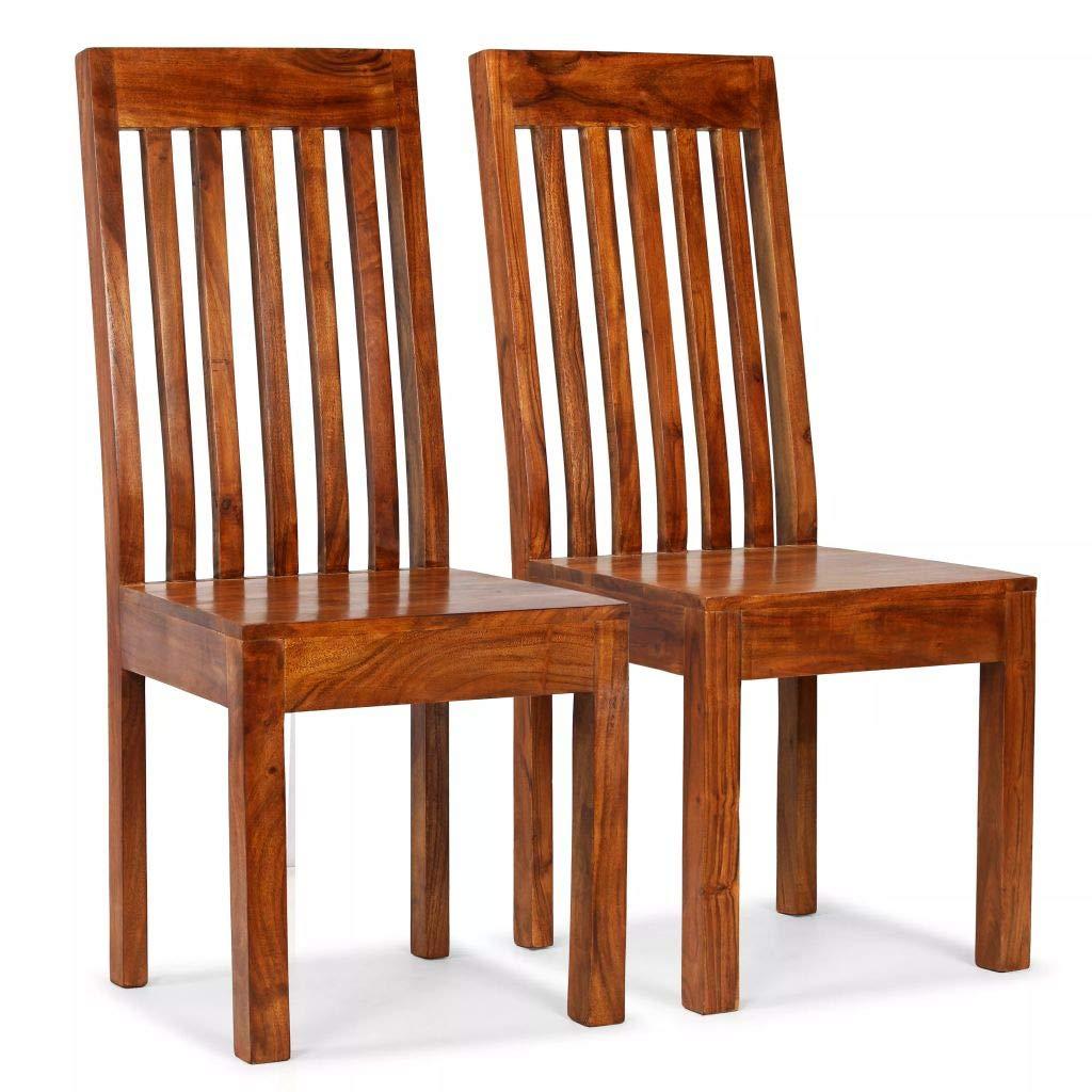 Festnight Esszimmerstühle 2 STK. Essstuhl Set Küchenstühle Massives Akazienholz mit Sheesham-Finish Modern Stühle 43 x 43 x 104 cm