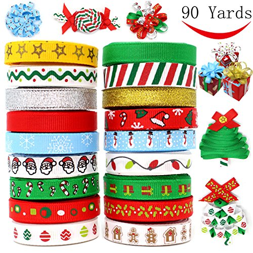 18 Packs Ribbons; 90 Yard Grosgrain Satin Fabric Ribbons for Christmas Holiday Gift Box Wrapping, Hair Bow Clips, Gift Bows, Craft, Sewing, Wedding, Baby Shower and Wine Decoration by Joiedomi.