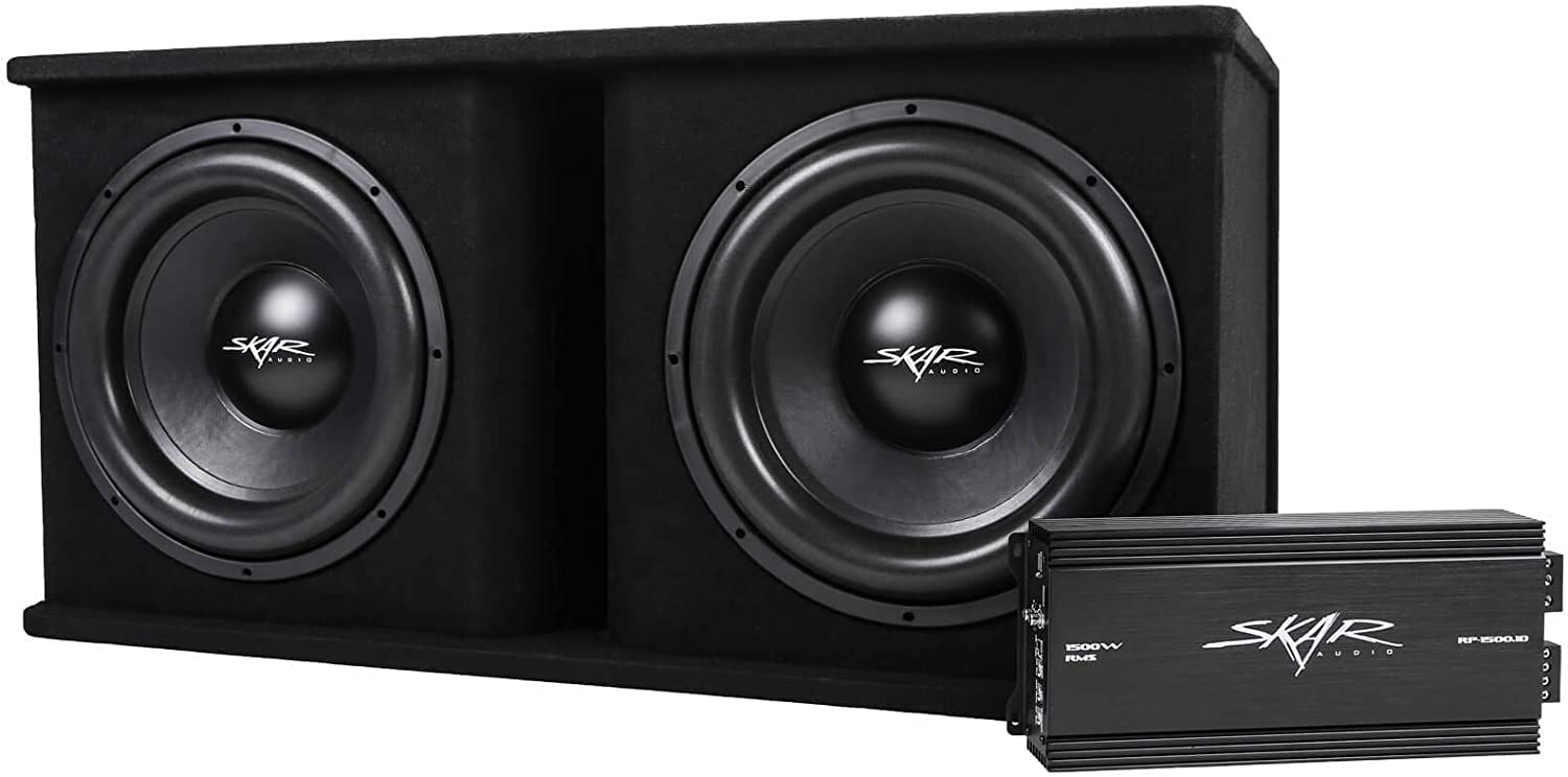 Dual 10 D4 Loaded Enclosure SDR-2X10D4 Skar Audio Dual 10 2400W Loaded Sdr Series Vented Subwoofer Enclosure