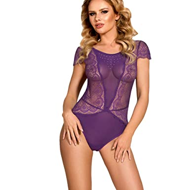 ccd4269cf7213 SUNSPICE Sexy One Piece Floral Lace Teddy and Mesh V-Back Bodysuit Lingerie  Set for