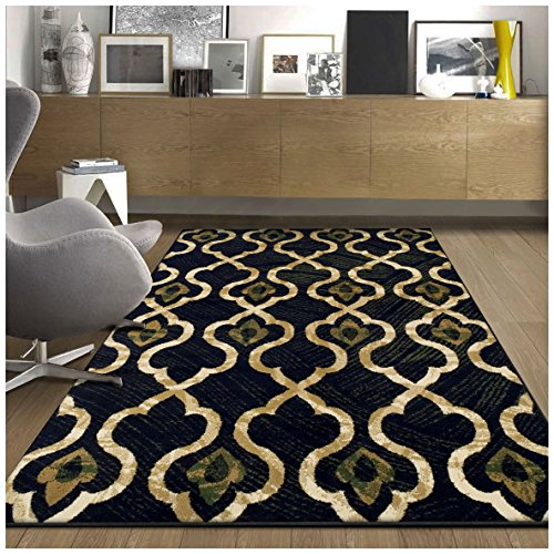 Superior Brighton Collection Area Rug, Chic Geometric Lattice Pattern, 10mm Pile Height with Jute Backing, Affordable Contemporary Rugs – Blue, 5 x 8 Rug
