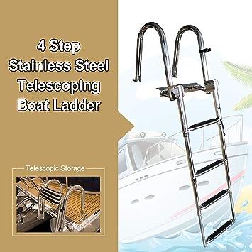 Erru Escalera Telescópica- Acero Inoxidable Escalera Telescópica para Barco 4 Pasos - Escalera de Baño Plegable Antideslizante para Yate Marino/Piscina: Amazon.es: Hogar