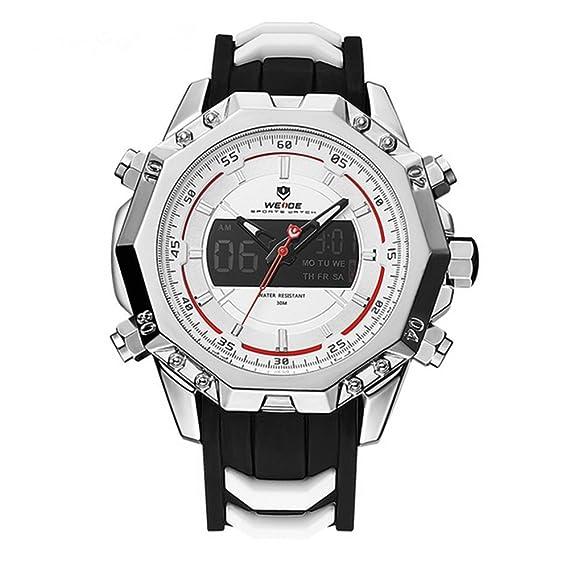 Para hombre Sport analógico movimiento de cuarzo pantalla Digital día luz de fondo Alarma Banda de goma resistente al agua los relojes de pulsera: ...