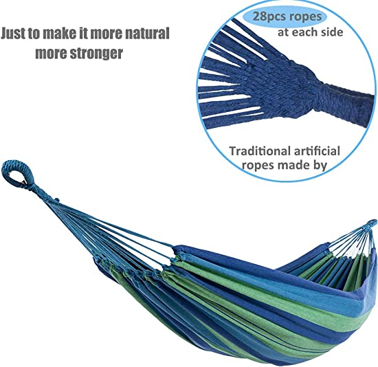 LEADALLWAY Cotton Hammock Swing Bed Camping Hammock W Carry Bag