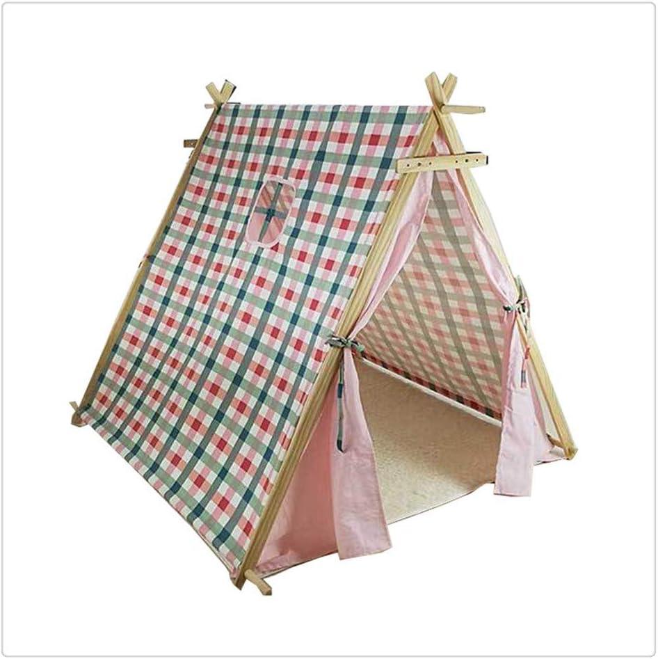 子供用ティピーテント 子 ピンクプレイテント プレイハウス 格子縞のテント 少年少女 3歳 分解する