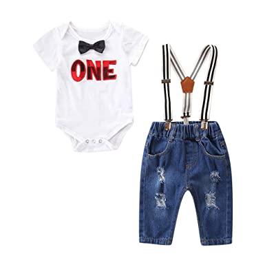 77347af9e884 Amazon.com  VEKDONE Infant Baby Boys Gentleman Tie Solid Romper+ ...