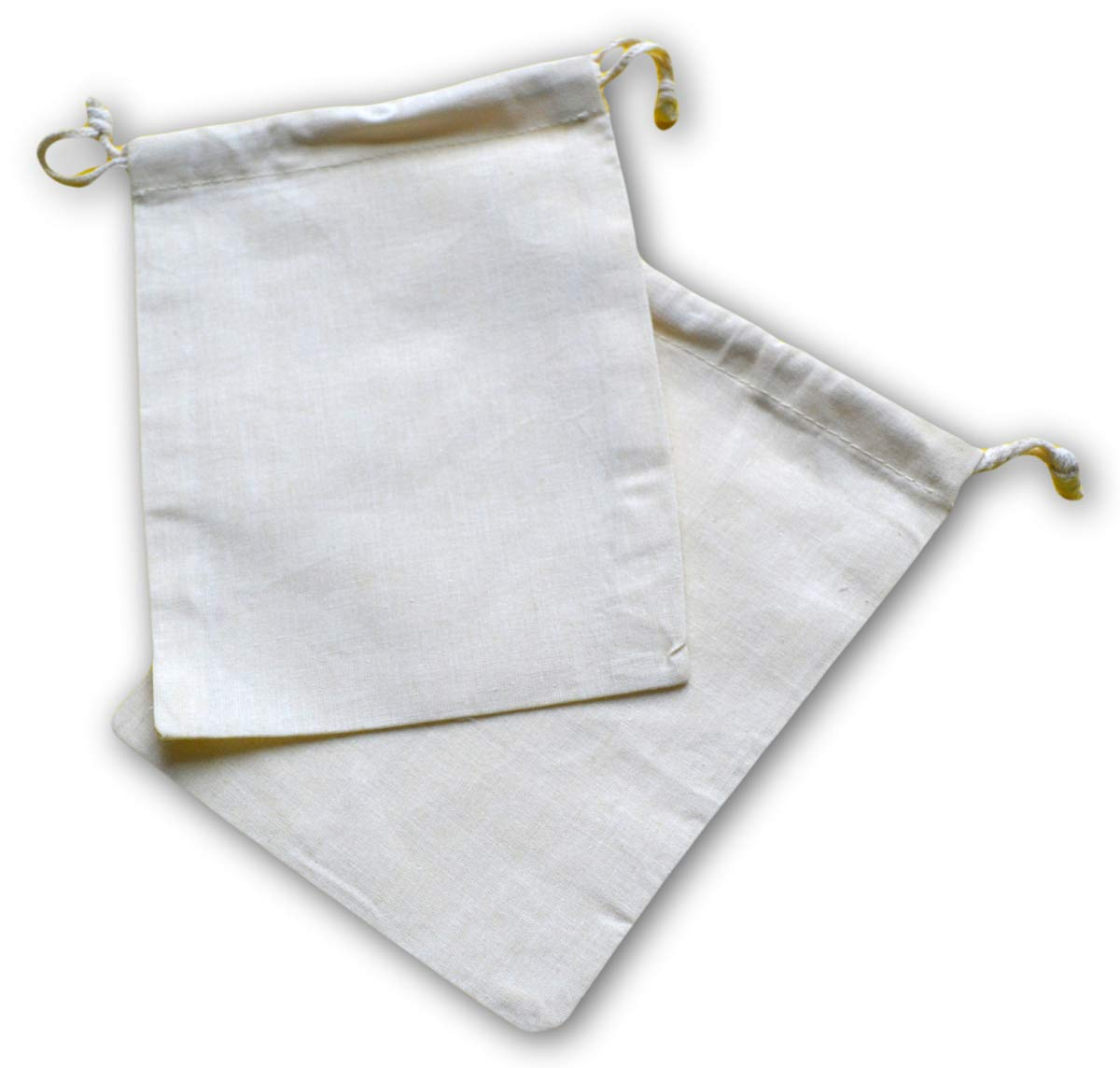Reusable ECO Friendly Cotton Double Drawstring Muslin Bags 4x6 inches (Natural Color)-100 Count Pack by Custom bags