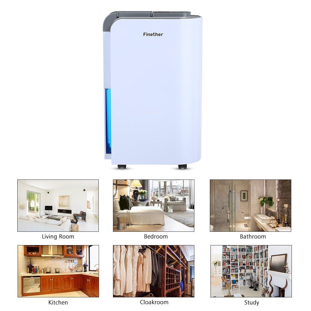 35m/² 220W Finether 12L//D/ía Deshumidificador Digital Ideal para Armario /≤45db Cocina Ba/ño Bajo Consumo Blanco y Azul Auto Apagado Clase de Eficiencia Energ/ética A+++ con Ruedas
