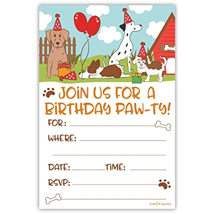 Amazon Puppy Dog Birthday Party Invitations 20 Count With Envelopes Toys Games