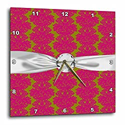3dRose dpp_118971_2 Fuschia Pink Olive Green Ornate Intricate Damask Pattern Faux Diamond Ribbon Wall Clock, 13 by 13-Inch