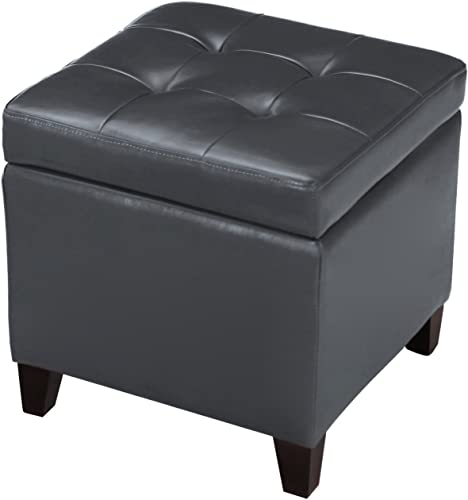 Edeco Square Storage Ottoman Tufted Faux Leather Cube Footrest,Grey