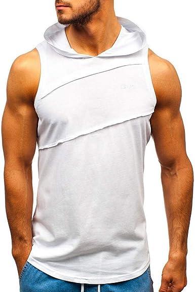 OPAKY Camiseta de Tirantes Deporte Hombre Hombres Chaqueta con Capucha de Empalme a Rayas con Remiendo sin Mangas con Capucha en Contraste Tops Basica Fitness Gym Camiseta Deportiva t-Shirt: Amazon.es: Ropa y