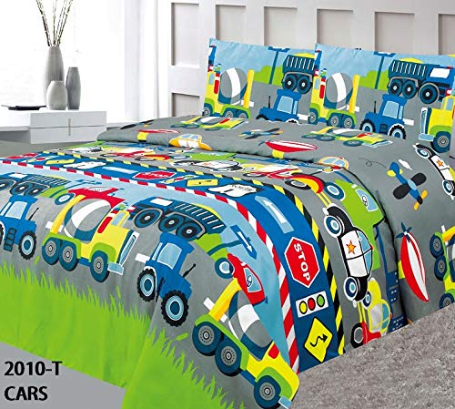Elegant Home Multicolors Construction Vehicles Trucks Police Car Road Signs Design 2 Piece Coverlet Bedspread for Kids Teens Boys Twin Size # Car Jenin (Twin Size)