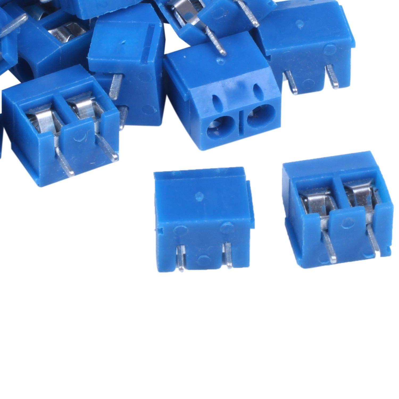 Semoic 30 piezas conectores de bloque de terminal de tornillo de montaje de 2P PCB de 2 vias de paso de 5,08mm azul