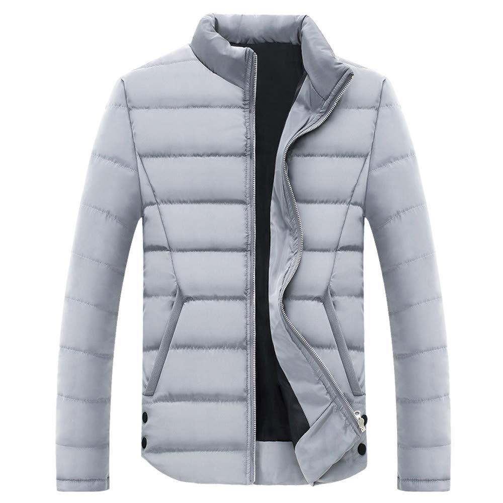 Seaintheson Men's Winter Puffer Jacket, Men Warm Zipper Pocket Cotton Padded Stand Collar Coat Lightweight Outwear Tops