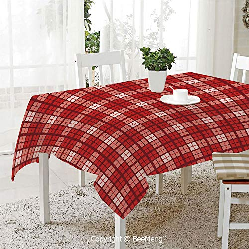 BeeMeng Dining Kitchen Polyester dust-Proof Table Cover,Red Plaid,Tartan Pattern with Grid Style Vintage Inspired Squares and Lines Geometric Decorative,Vermilion White,Rectangular,59 x 59 inches