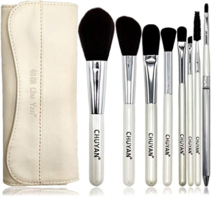 set de brochas para maquillaje Juego completo de tubo de almacenamiento de cepillo para maquillaje para principiantes, 8 bolsas blancas + blancas, rayón: Amazon.es: Belleza