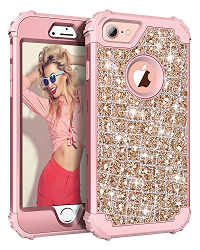 Hekodonk Compatible iPhone 8 Case, iPhone 7 Case, 3D Luxury Sparkle Glitter Shiny Heavy Duty Shockproof Full-Body Protective High Impact Hybrid Cover for Apple iPhone 8 / iPhone 7 (Bling Rose Gold)