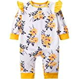 itkidboy Newborn Baby Girls Clothes Long Sleeves Flower Romper Jumpsuit + Headband 2Pcs Outfit Set