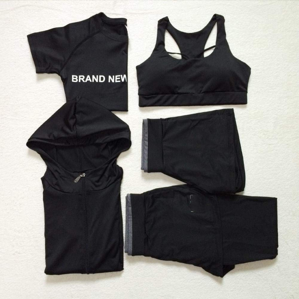 YANGCONG Yoga Fitness Bekleidung 5-teilige Frauen Yoga tragen Kapuzenmantel + T-Shirt + BH + Shorts + Hose schnell trocknend Sport Fitness Gym Anzug Outdoor Laufbekleidung 5-teiliges Set 3 M