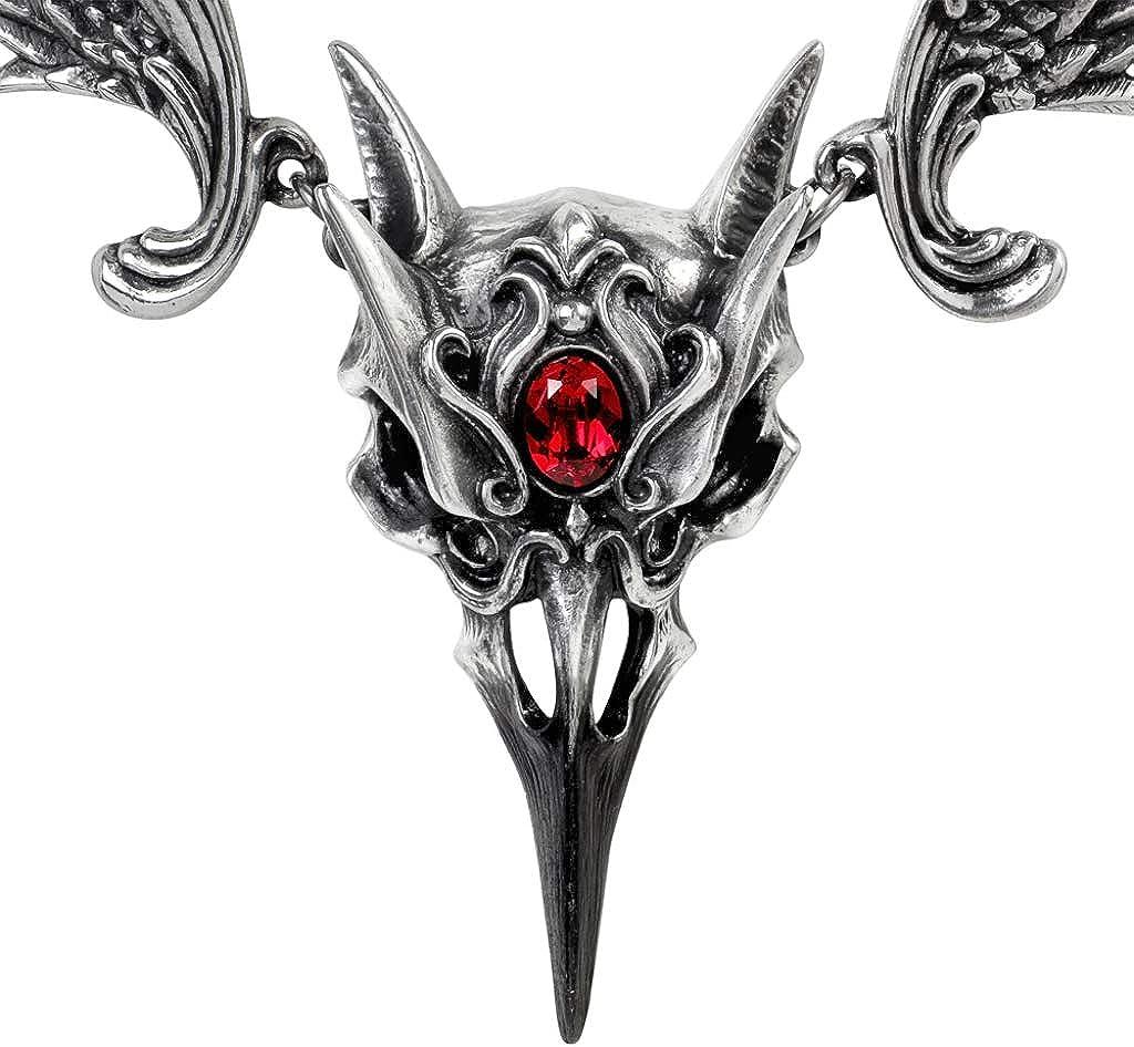 Alchemy Gothic Masque of the rose noir pendentif collier étain