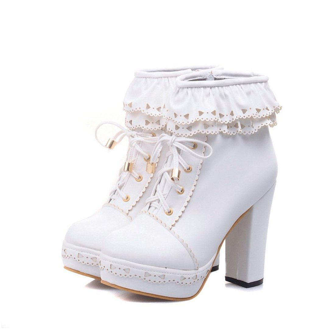 Susanny Womens Office Party Sweet Lolita Platform Chunky High Heel PU Lace up White Ankle Boots 8.5 B (M) US