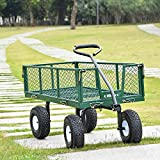 Ollieroo Utility Wagon Farm and Ranch Heavy-Duty Steel Garden Cart with Removable Folding Sides and 10 Pneumatic Tires 660Lb Capacity 38x20 Bed Powder Coated Green Finish