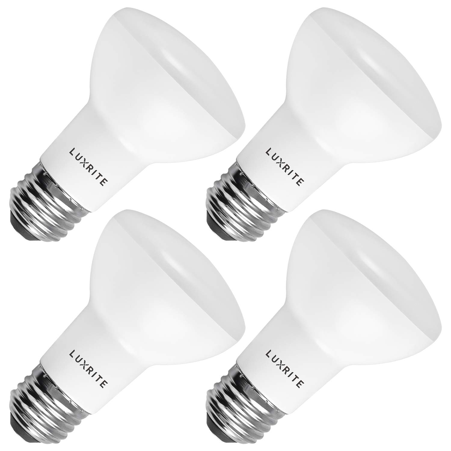 Luxrite BR20 LED Bulb, 45W Equivalent, 3000K Soft White, Dimmable, 460 Lumen, R20 LED Flood Light Bulb 6.5W, Energy Star, Damp Rated, E26 Base, Perfect for Recessed and Track Lighting (4 Pack)