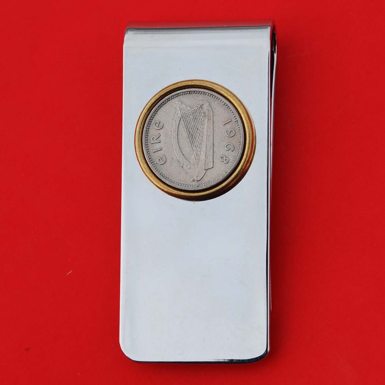 1968 Irish Ireland 3 Pence Harp Coin Solid Brass Money Clip New by jt6740