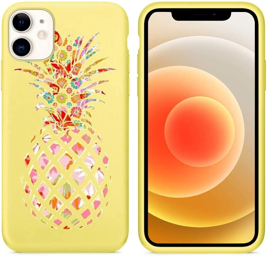 Joyland Liquid Silicone Case for iPhone 6 Plus / 6s Plus Colored Pineapple Design, Slim Soft Full Body Protective Phone Cover with Anti-Scratch Microfiber Lining - Yellow